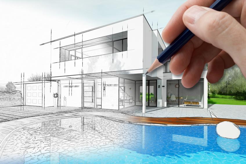 Dessin d'une maison d'architecte avec plan et piscine